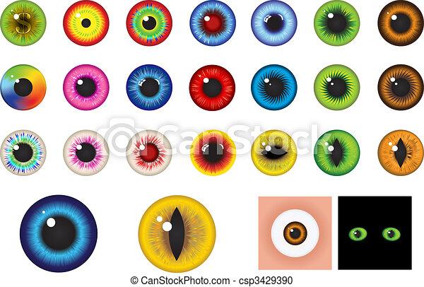 -, olhos, elementos, desenho, multicolored - csp3429390