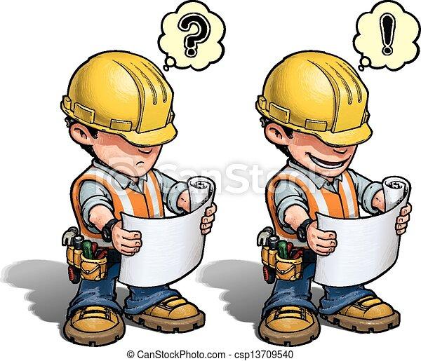 -, ouvrier construction, plan, lecture - csp13709540