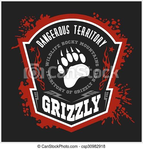 -, pardo, emblemas, elements., etiqueta, desenho, militar, urso - csp30982918