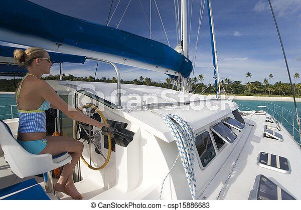 -, pazifik, luxus, katamaran, fidschi, süden - csp15886683