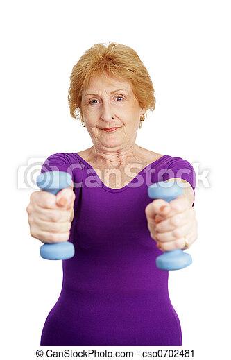 -, personne agee, freeweights, séance entraînement - csp0702481