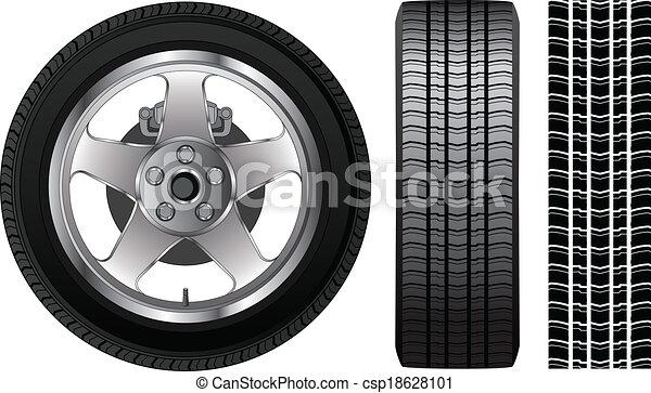 -, pneumatico, orlo, ruota, alluminio - csp18628101