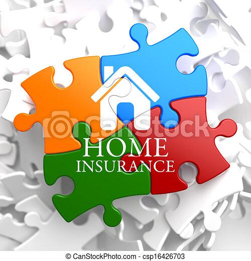 -, puzzle., multicolor, forsikring til hjem, ikon - csp16426703