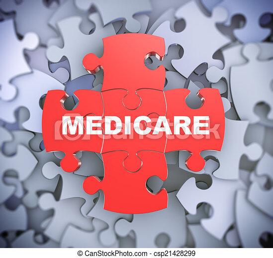 -, quebra-cabeça, 3d, medicare, pedaços - csp21428299