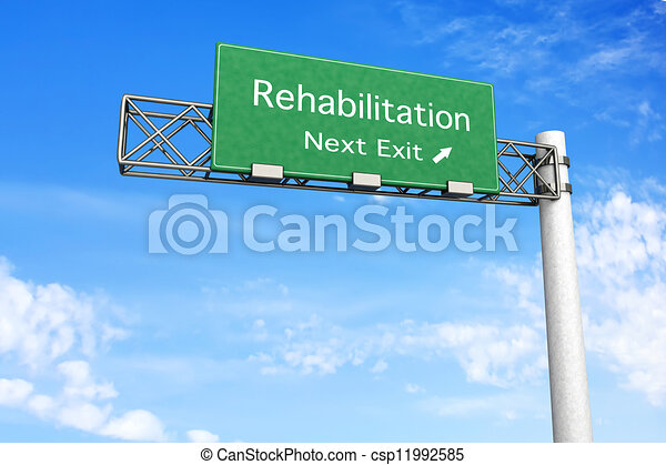 -, rehabilitation, landstraße zeichen - csp11992585