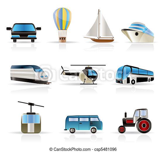 -, reizen, v, vervoer, iconen - csp5481096