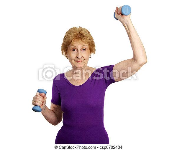 -, séance entraînement, personne agee, fitness, amusement - csp0702484