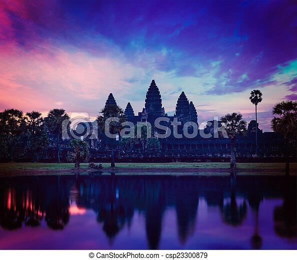 -, sławny, angkor, kambodżanin, punkt orientacyjny, wat, wschód słońca - csp23300879