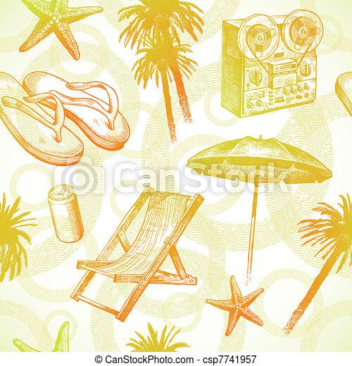 -, seamless, main, exotique, recours, vecteur, fond, dessiné, plage - csp7741957