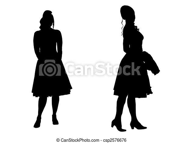 -, silhouette, junge frauen - csp2576676