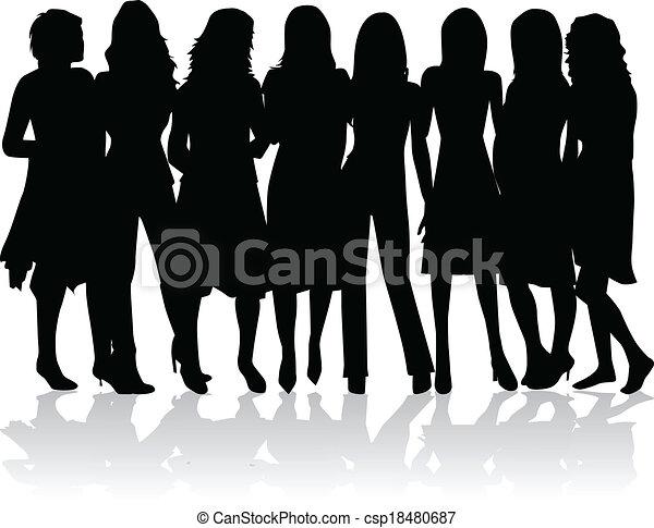 -, silhouettes, femmes, groupe, noir - csp18480687
