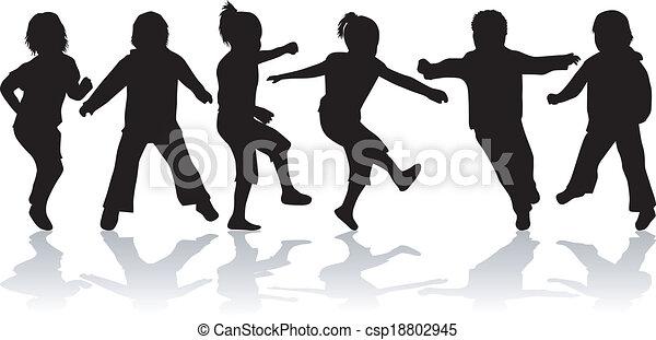 Niños, siluetas negras - csp18802945