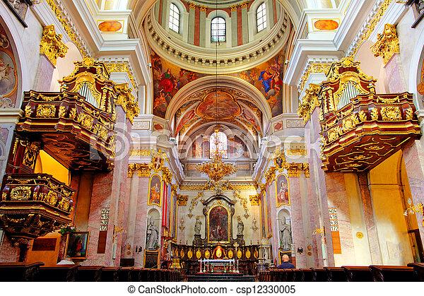 slovenia, belső, szent, ljubljana, székesegyház, miklós. | CanStock