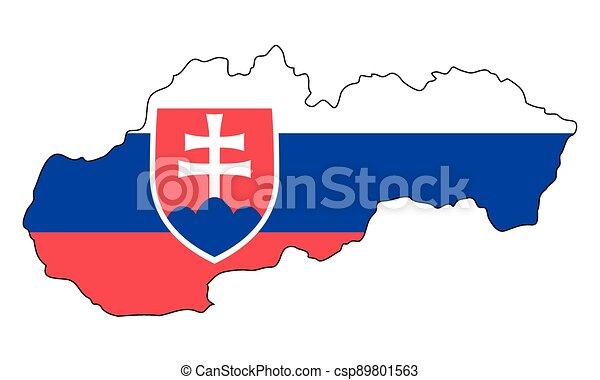 -, state flag, neposkvrněný, nárys, mapa, prapor, slovensko, grafické pozadí, národnostní - csp89801563