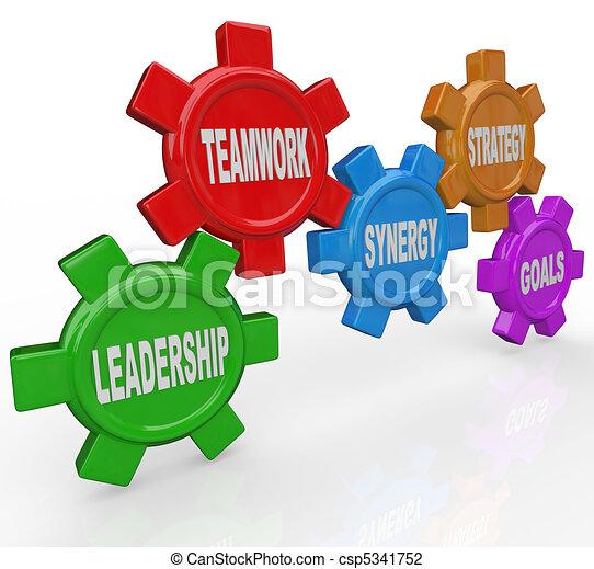 -, strategia, sinergia, direzione, lavoro squadra, ingranaggi, mete - csp5341752