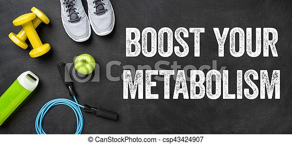Equipo adecuado en un fondo oscuro, estimula tu metabolismo - csp43424907