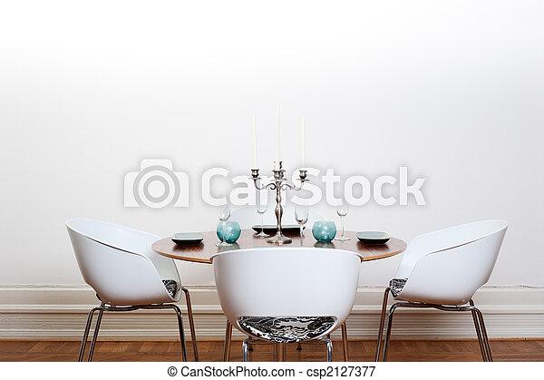 -, tabela, sala, redondo, jantar, modernos - csp2127377