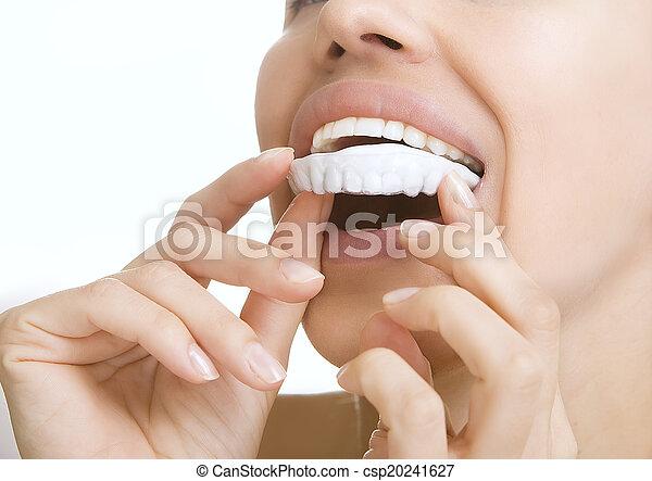 -, tand, whitening, teeth, het glimlachen, blad, meisje - csp20241627