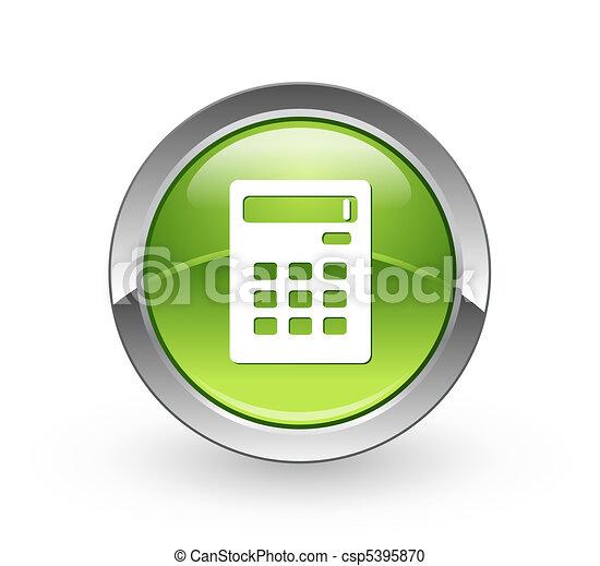 -, taschenrechner, grün, taste, kugelförmig - csp5395870