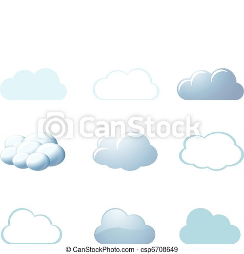 -, tempo, nubi, icone - csp6708649