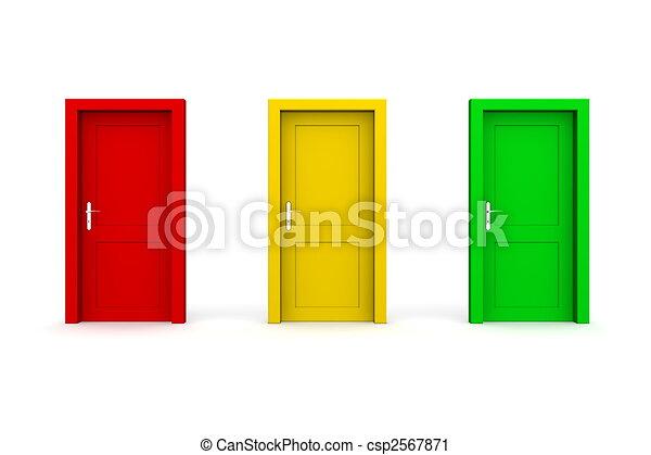 Tres puertas de color - rojo, amarillo, verde - csp2567871