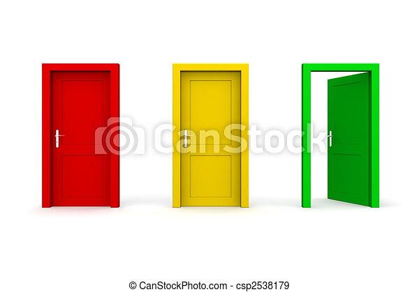Tres puertas de color, verde abierto - csp2538179