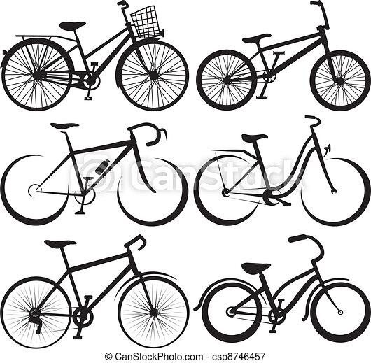 -, vélo, silhouette, grands traits - csp8746457