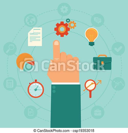 -, vecteur, gestion, concept affaires - csp19353018