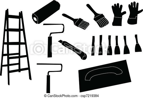 vecteur peignant outils outils vecteur peinture illustration. Black Bedroom Furniture Sets. Home Design Ideas