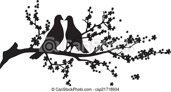 -, vector, boompje, vogels - csp21718934