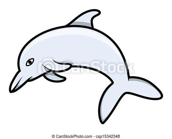Dolphin, vector de caricaturas - csp15342348