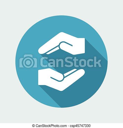 Un gesto de cuidado, un icono mínimo - csp45747330
