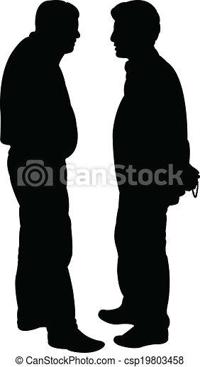 -, vector, silhouette, vrienden - csp19803458