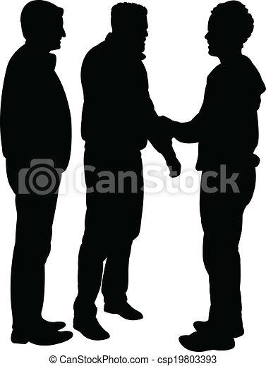 -, vector, silhouette, vrienden - csp19803393