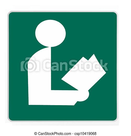 Señal de carretera, biblioteca verde - csp10419068