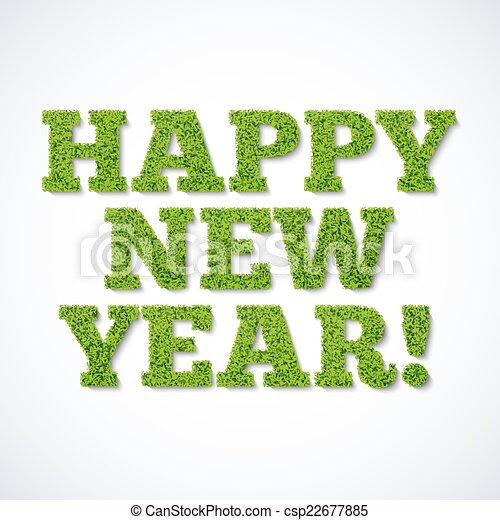 -, vert, année, nouveau, herbe, carte, heureux - csp22677885