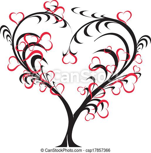 -, vetorial, amor, árvore - csp17857366