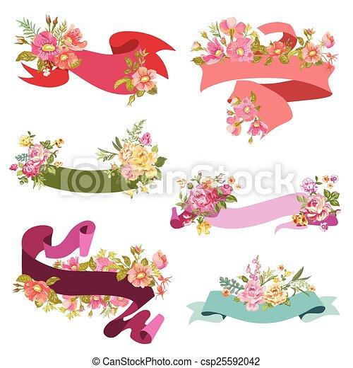 -, vetorial, desenho, casório, floral, scrapbook, bandeiras, cartões, fita - csp25592042