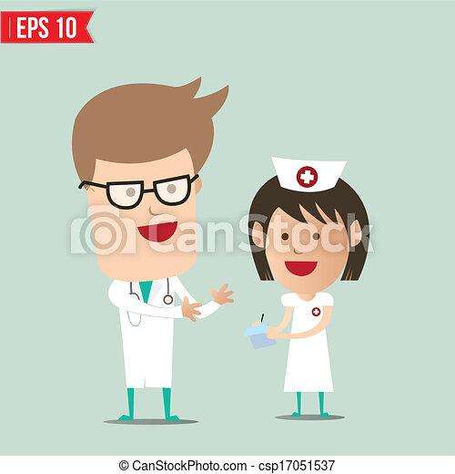 -, vetorial, relatório, explicar, enfermeira, doutor, caricatura, eps10, ilustração - csp17051537