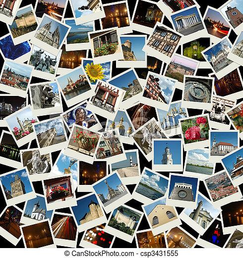 Vamos a Europa, fondo con fotos de viajes de monumentos europeos - csp3431555
