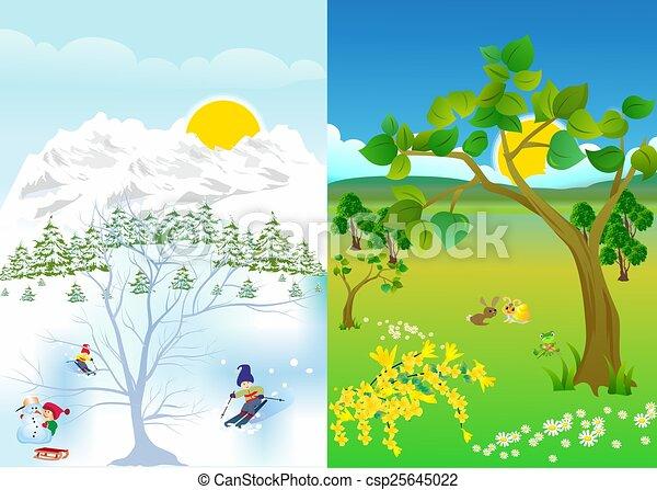 803debb4 vinter, sommer. Sommer, vinter, viser, forandrer, komposition, landskab.