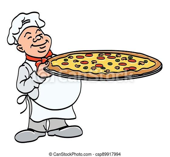 -, vrchní kuchař, karikatura, vařit, big, pizza, podnos, vektor, pizza, majetek, barva, ilustrace - csp89917994