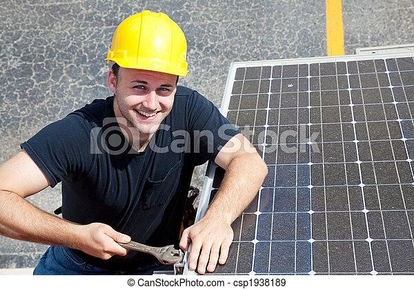 -, werk, arbeider, groene, vrolijke  - csp1938189