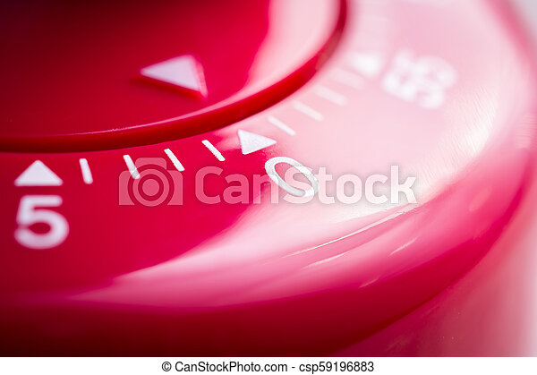 0 Minutes - 1 Hour - Macro Of A Flat Red Kitchen Egg Timer