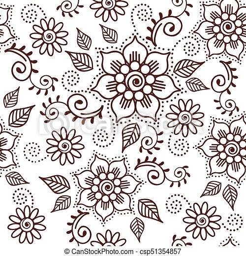 00035 Brown Henna Lotus Repeating Pattern Spiritual Illustration 1