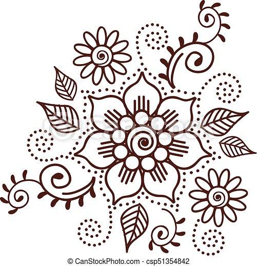 00036 Brown Henna Flower Pattern Spiritual Illustration 1 Eps Brown