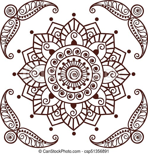 00043 Brown Henna Flower Pattern Spiritual Illustration 2 Eps Brown