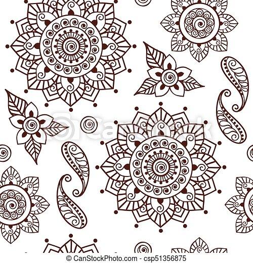 00044 Brown Henna Lotus Repeating Pattern Spiritual Illustration 2