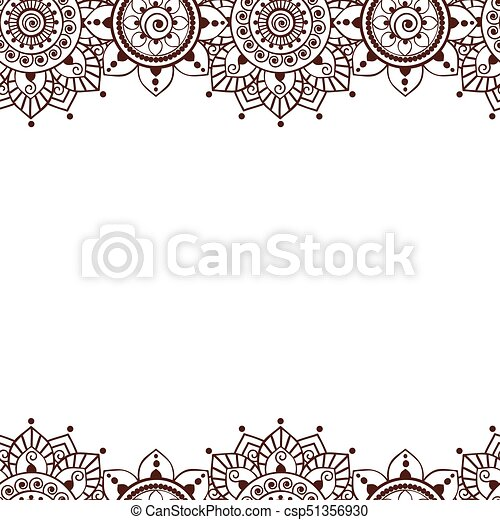 00053 Seamless Henna Borders Vector Abstract Floral Patterns 4 Eps