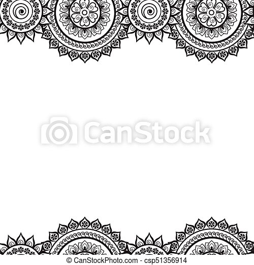 00054 Seamless India Border Vector Abstract Floral Pattern 1 Eps